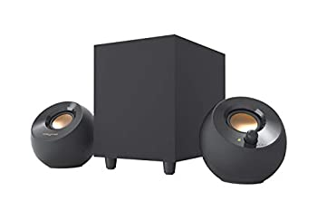 Creative Pebble Plus 2.1 USB-Powered Desktop Speakers with Powerful Down-Firing Subwoofer and Far-Field Drivers Up to 8W RMS Total Power for Computer PCs and Laptops  Black
