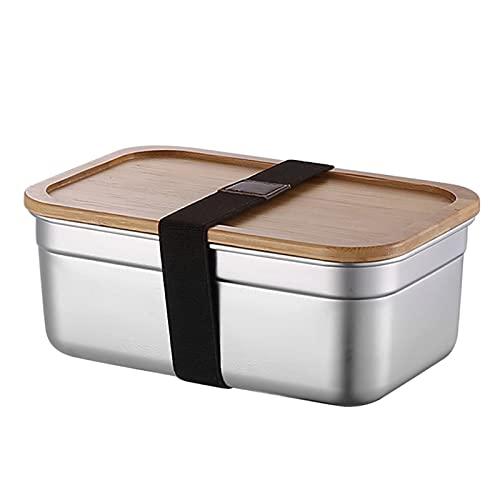 ZCFGUOI Fiambrera de acero inoxidable con tapa de bambú Bento Sushi Snacks Container, Fiambrera de metal para el trabajo, escuela, almuerzo, comida, preparación para niños o adultos