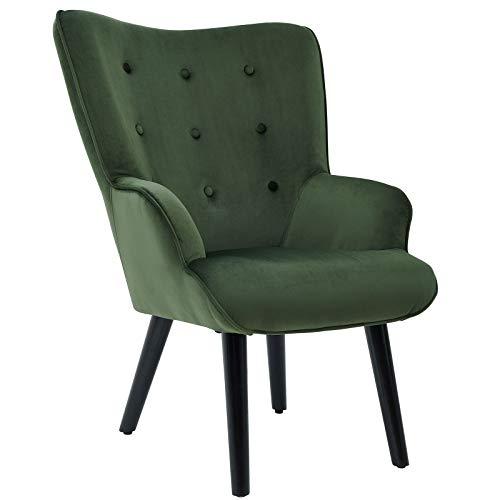 CARO-Möbel Ohrensessel LIGERO im Retro Design Ohrenbackensessel Fernsehsessel Samtbezug in grün Relax Lesesessel