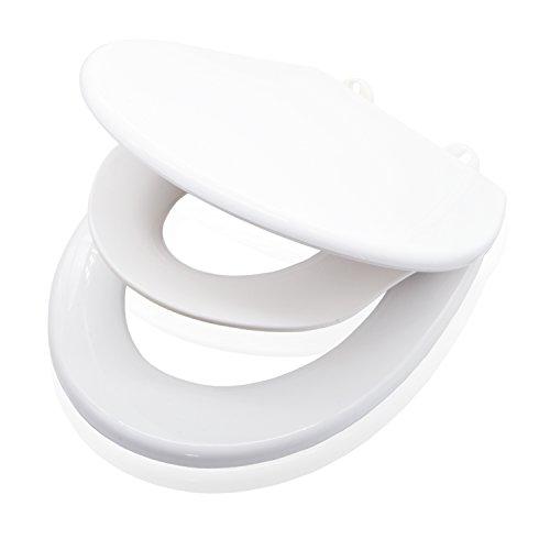 valneo Familien-Toilettensitz mit Kinderbrille, weiß - WC Sitz mit integriertem Kindersitz, Easy-Clean Funktion