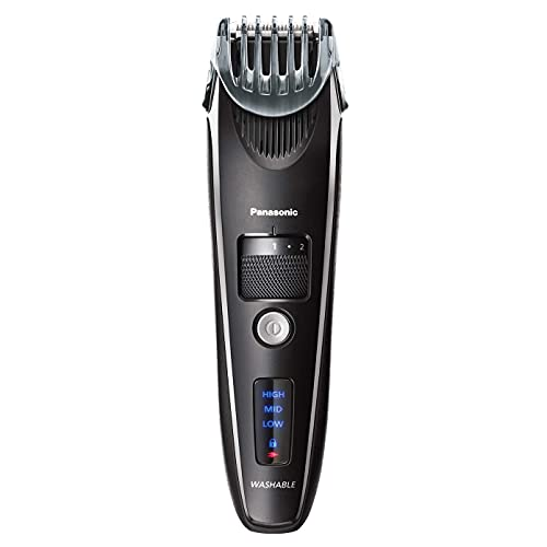 Panasonic men's precision power beard, mustache and hair trimmer, cordless precision power, hair clipper with comb attachment and 19 adjustable settings, washable, broage cleaning brush