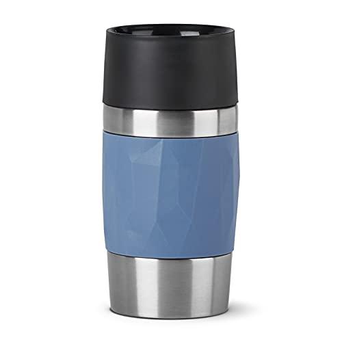Emsa N21602 Travel Mug Compact Thermo-/Isolierbecher aus Edelstahl | 0,3 Liter | 3h heiß | 6h kalt | BPA-Frei | 100% dicht | auslaufsicher | spülmaschinengeeignet | 360°-Trinköffnung | Blau