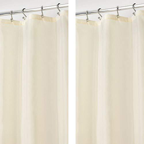 mDesign 2er-Set Duschvorhang aus Polyester – langer Badewannenvorhang fürs Badezimmer – 182,9 cm x 182,9 cm – wasserabweisende Duschgardine für Dusche oder Badewanne – sandfarben