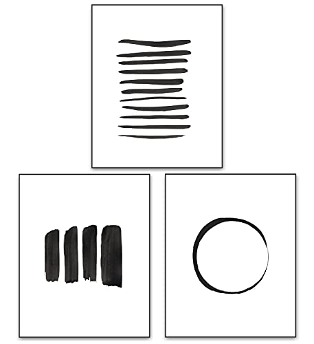 Abstract Wall Art Black and White Ink Art Print Set of 3 Dark Brush Strokes Poster Gray Lines Circle Minimalist Watercolor Painting Contemporary Wall Decor 8x10 Unframed Artwork