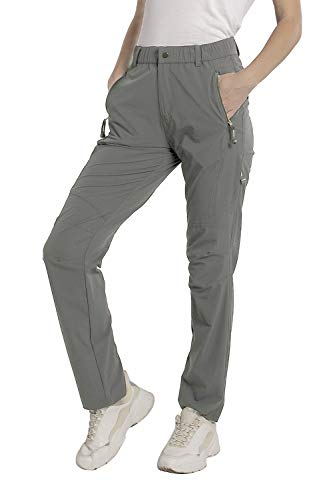 SYKROO Women's Hiking Quick Dry Lightweight Water Resistant Outdoor Casual Travel Climbing Mountain Pants with Zipper Pockets (Light Grey, XXL)