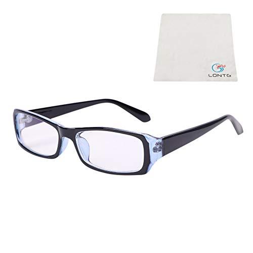 LONTG Brille ohne sehstärke Damen Herren Brillenfassung mit Schmal Rahmen Strahlenschutz UV Schutz Glasses Kurzsichtigkeit Computer Schutzbrille Studenten Jugendliche Nerdbrille mit Brillenetui