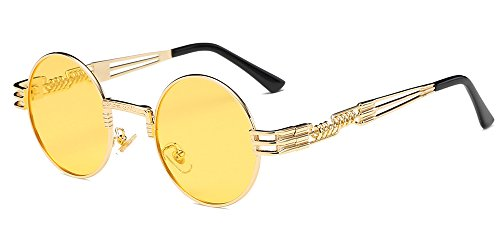 Gafas redondas amarillas estilo Steampunk