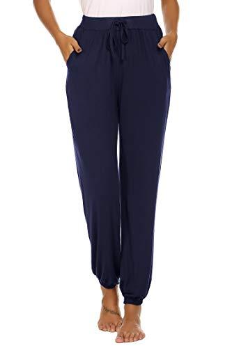 Unibelle Yogahosen Lang Hose Jogginghose Lose Sporthose Freizeit Hose Schlafanzughose mit Tasche für Damen Navyblau-XL