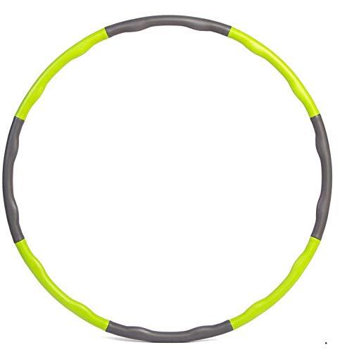 Mailier Hula-Hoop-Reifen für Erwachsene, Gewichtsverlust, schnelle Übung, Reisen, Workout, Fettverbrennung, gesund, abnehmbar und größenverstellbar, Grün+Grau