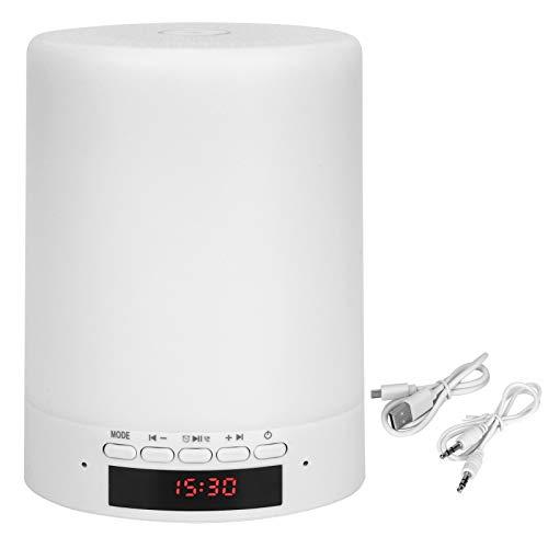 Reloj Despertador con Altavoz Bluetooth, Luz De Noche De Altavoz PortáTil con 7 Colores Opcionales, Tocar La LáMpara Led De Cambio De Color Reloj Despertador Inteligente Reproductor De Mp3