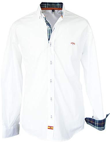 Pi2010 Camisa Bandera de España Hombre Blanco con...