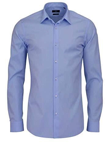 BOSS Slim Fit Hemd ISKO extra Langer Arm geknöpft Baumwolle hellblau Größe 41