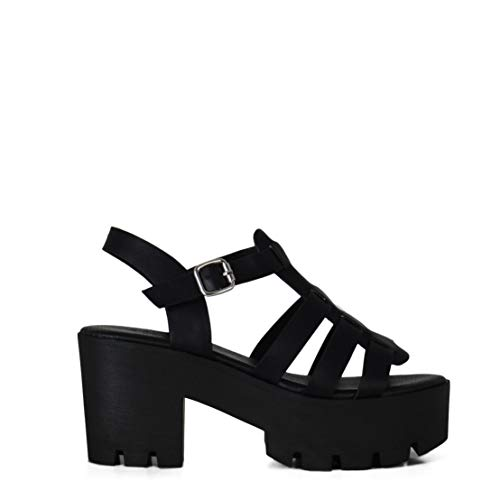 Sandalia de Mujer Estilo Cangrejera con Plataforma Verano Negro (38 EU)