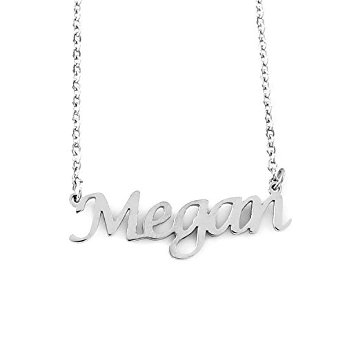 Kigu Megan Personalized Name - Silver Tone Necklace - Adjustable Chain 16' - 19' Packaging