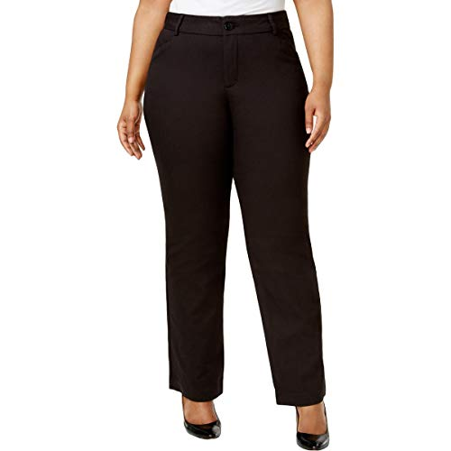 Lee Womens Plus Monaco Eased Fit No Gap Dress Pants Black 16W