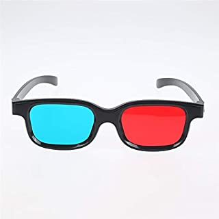 1PCS New Red Blue 3D Glasses Black Frame for Dimensional Anaglyph TV Movie DVD Game DVD Movies Vr (Color : Black)