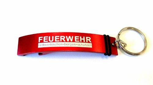 alarmtrakt.de Schlüsselanhänger mit Flaschenöffner Aluminium inklusive Lasergravur FEUERWEHR retten-löschen-bergen-schützen