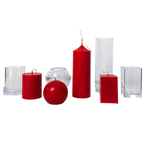 MILIVIXAY 4pcs Plastic Candle Molds for Candle Making - Including Pillar Mold, Cylinder Mold, Rectangle and Sphere Mold - Candle Mold for Beeswax - Candle Making Molds.