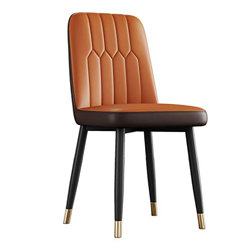 Dining Chairs with Solid Metal Legs and Backrest & Soft Faux Leather Seat For Lounge Office Dining Kitchen Counter Corner Kitchen Chairs (Color : Orange+Brown)