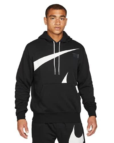 NIKE M NSW Swoosh PO SBB Hoodie Sweatshirt, Black/White, L Mens