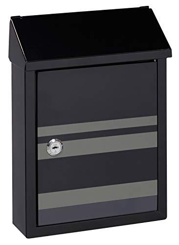 Arregui Smart Graphic E5724-STR Individueller Briefkasten aus Stahl mit dekorativem Linien, Mit Briefeingang auf der Rückseite, Größe S (DIN A5), Schwarz mit Siebdruck, 30 x 21.6 x 8 cm