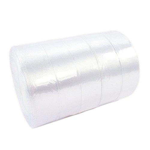 5 rotoli di nastro di raso bianco in confezione risparmio, nastro decorativo satinato per regali, in rotolo da 25 mm larghezza e 114,3 m di lunghezza, di colore bianco neve