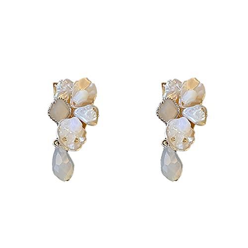 XKMY Pendientes de tuerca para mujer, pendientes de perlas de imitación largos de lujo, para mujer, regalo elegante, joyería de fiesta, pendientes de perlas de moda (color metálico: color blanco)