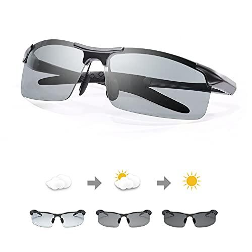 TJUTR Men's Photochromic Sunglasses with Polarized Lens for Outdoor 100% UV Protection,Anti Glare, Reduce Eye Fatigue(Metalgun/Discolor)