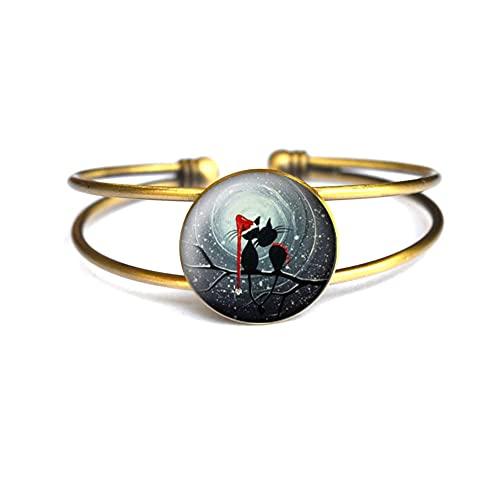 Gatos, pulsera de Navidad, cabujones de cristal, regalo para amantes de gatos, pulsera de animales,...