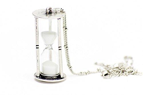 Miniblings Sanduhr 5cm LÄUFT MIT Sand Halskette - Handmade Modeschmuck I Kette mit Anhänger Länge: 80cm - Uhr Eieruhr Silber