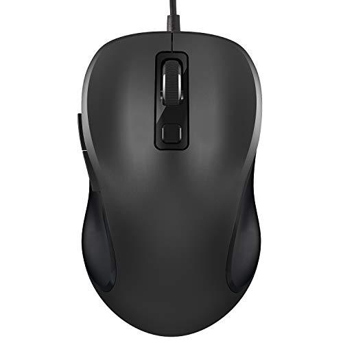 Maus, TedGem Ergonomisches Wired Mouse PC Maus Laptop Maus 6-Tasten 3 DPI(2000-1600-1000), Laptop Mouse Wired Kabel Für Windows 7/8/10 / XP, Vista, Linux und Mac OSMaus(Schwarz)