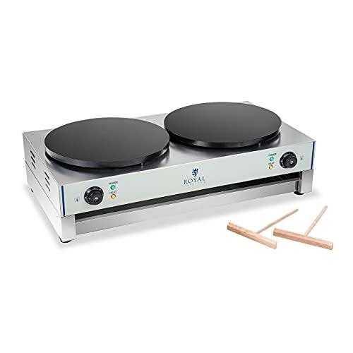 Royal Catering Crêpière Electrique Double RCEC-6000-E (48x86x24cm, 2x3.000W, diamètre de la plaque chauffante 40cm, plaque : fonte avec revêtement en émail)