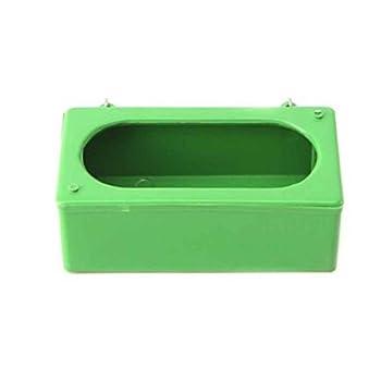 Uzinb Pet Oiseaux en Plastique Vert Alimentaire Abreuvoir Coupes Perroquet Volaille Pigeons Cage Coupe Coop Feeder Alimentation S/M/L