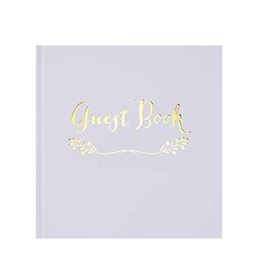 VEESUN Guest Book Matrimonio, GuestBook Bianco 50 Fogli 150GSM, Libro degli Ospiti per Matrimonio 20.5x20.5cm, Registro degli Invitati Adatto per Anniversario Feste Battesimo Compleanno Nozze
