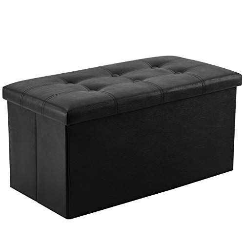 YOUDENOVA 30 inches Folding Storage Ottoman, 80L Storage Bench for Bedroom and Hallway, Faux Leather Black Footrest with Foam Padded Seat, Support 350lbs