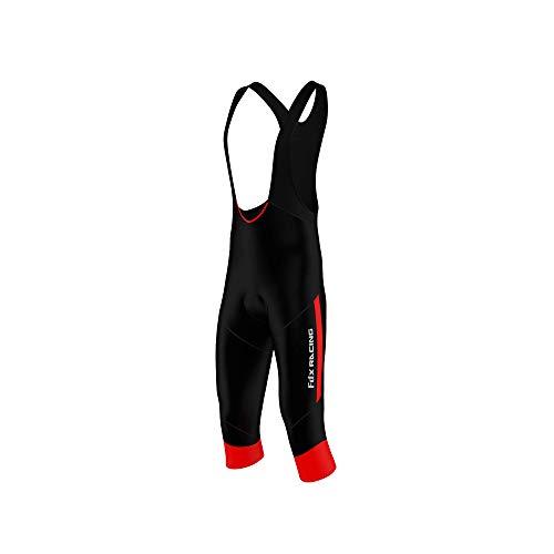 FDX, salopette da uomo per ciclismo con pantaloncini a 3/4, bretelle e inserto imbottito in gel, FDX-R3/4-16-A, Black / Red, L