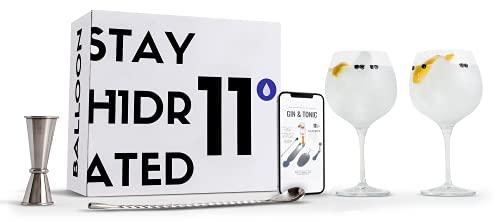 Copas gin tonic 11DRINKS   kit para crear tu único gin tonic   2 copas de cristal fino premium tipo balón (72cl), cuchara mezclador profesional y jigger medidor (25/50ml) todo en pack de regalo