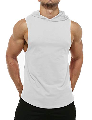 Magift Men's Cut Hoodies Bodybuilding Cool Muscle Workout Hooded Tank Tops Sleeveless Gym Shirt (White, L)
