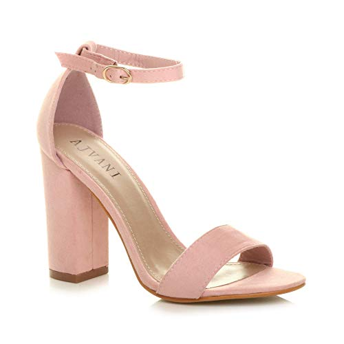 Ajvani Womens Ladies Block high Heel Buckle Ankle peep Toe Strappy Sandals, Pink Suede, 5 UK