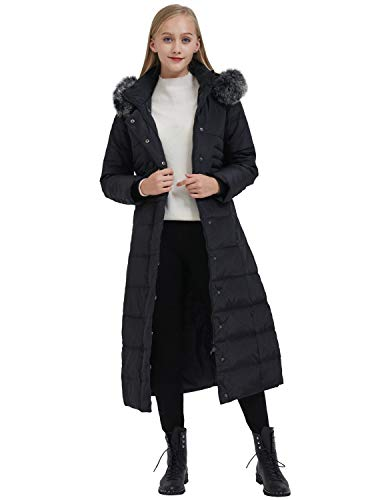 ilishop Women's Thickened Maxi Down Jackets- Hooded Long Down Jacket Winter Parka Puffer Coat (XL, Black)