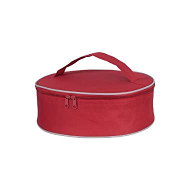 KAF Home Portable Insulated Pie Carrier, Red, Polyester, 3.5 x 11.5 x 10.75-Inches