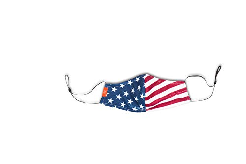 Independence Day American Flag Double Layered Cotton Mask (Made in USA) (Adjustable, Stars & Stripes - Red, White, & Blue)