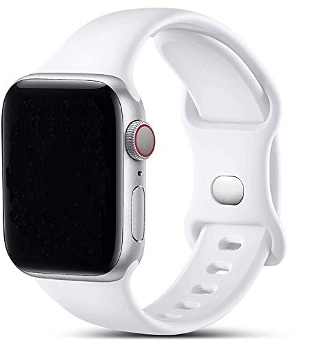 VIKATech Compatible con Apple Watch Correa 44mm 42mm, Deportivas de Silicona Correas de Repuesto Compatible con iWatch Series 6/SE/5/4/3/2/1(42mm/44mm M/L, Blanc)