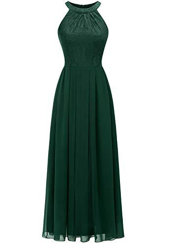 Dressystar 0040 Damen Maxi Lang Abendkleider Elegant Spitzen Ballkleid Ärmellos Hochzeit Grün S
