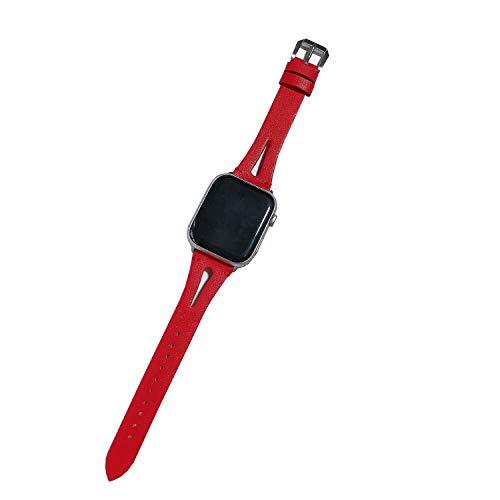 Xnhgfa Correa de Piel auténtica Compatible con Apple Watch Series 6 5 4 3 2 1,Rojo,42MM/44MM