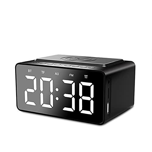 ZEIYUQI Altavoz Bluetooth de Carga Inalámbrica,Audio de Reloj Despertador con Tarjeta TF Portátil para Exteriores,Audio de Escritorio con Reloj LED,Entrada Auxiliar,Tarjeta Micro-SD,Tipo C