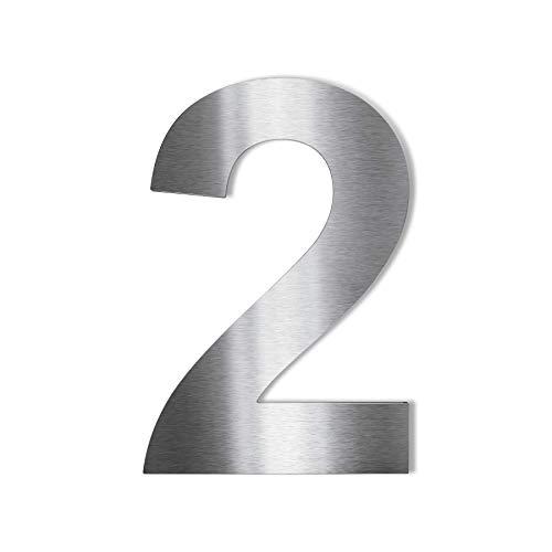 Metzler Edelstahl Hausnummer – modernes Design – wetterfest & pflegeleicht - Schrift Arial – Steckdübel – Höhe 14 cm - Ziffer 2
