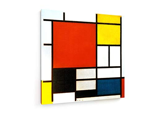 weewado Piet Mondrian - Composición con Gran Plano Rojo, Amarillo, Negro, Gris y Azul 80x80 cm Impresion en Lienzo - Muro de Arte - Canvas, Cuadro, Poster - Old Masters/Museum