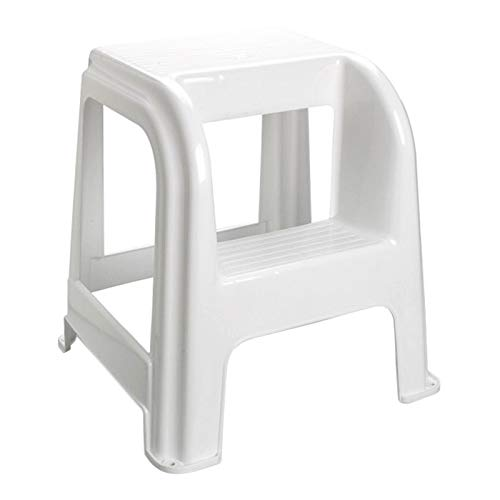 Acan Taburete Domus de plástico con Escalón en Blanco 44 x 42 x 45 cm Taburete Escalera Usar Tanto Profesional como a Hogar