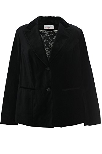 Sheego Samt Blazer Jacke Jacket Gehrock Damen Plusgröße Übergröße Baumwolle, Farbe:schwarz;Damengrößen:50